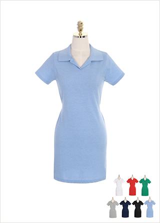 op7098 오픈 카라와 스트랩 디테일의 코튼 미니 원피스 dress