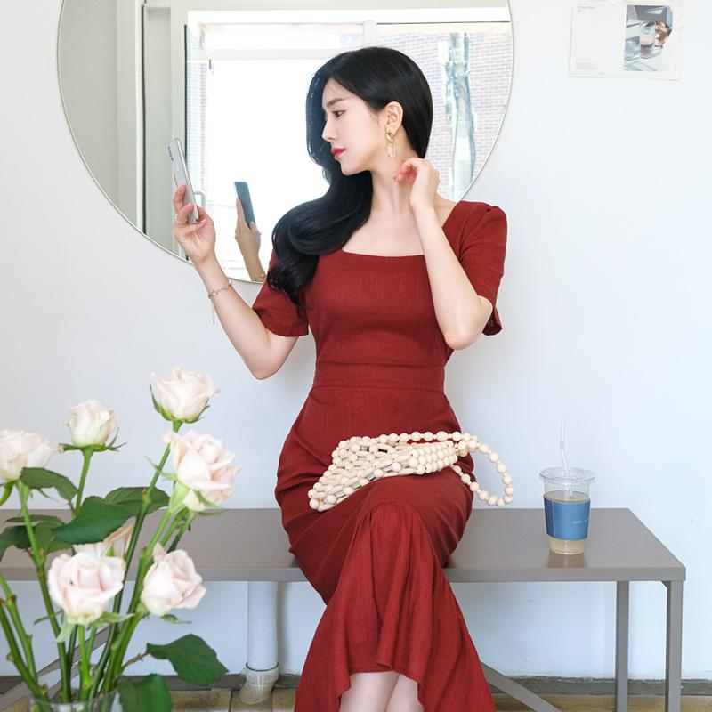 op7127 린넨소재로 제작된 스퀘어넥디자인의 머메이드프릴 롱원피스 dress