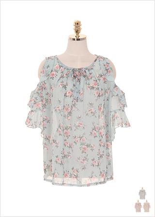 bs4383 어깨 트임과 프릴 소매 디자인의 리본타이 플라워 블라우스 blouse