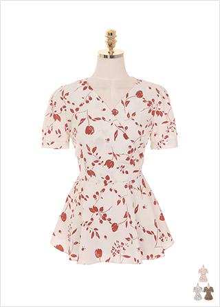 bs4385 플라워 패턴과 랩 디자인의 페플럼 블라우스 blouse