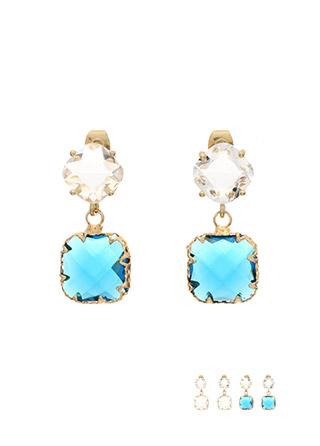 ac3963 감각적인 컷팅으로 반짝임이 남다른 크리스탈 은침 드롭 이어링 earring