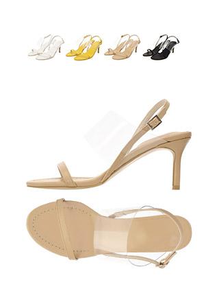sh1492 예쁜 비율 완성해주는 도톰 PVC 스트랩의 미들힐 슬링백 샌들 shoes