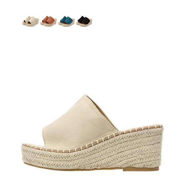 sh1484 라탄 굽 디자인의 스웨이드 블로퍼 오픈토 웨지힐 shoes