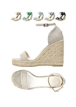 sh1474 취향에 맞는 옵션선택 가능한 다양한 패브릭의 웨지힐 샌들 shoes