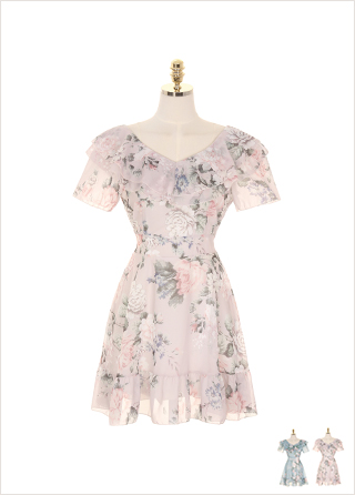 op7138 와이드 브이넥 러블 장식의 플라워 쉬폰 플레어 원피스 dress