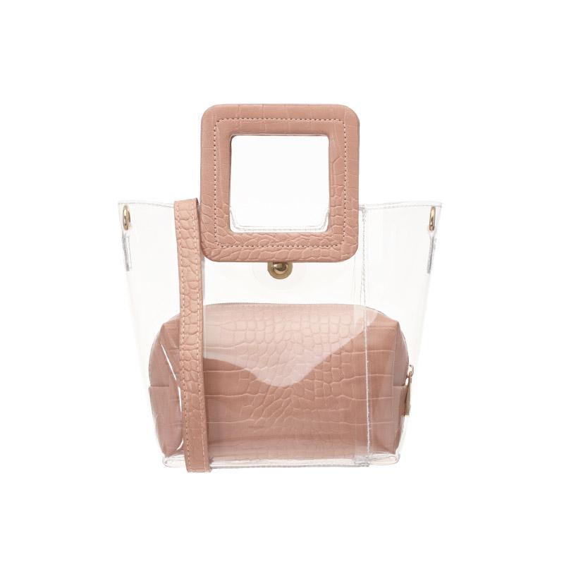 bg769 투명한 PVC소재로 제작된 시원산뜻 스퀘어 탑핸들 토드, 숄더백 bag