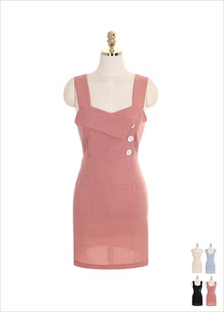 op7143 단추 카라 장식의 뷔스티에 원피스 dress