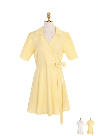 op7141 오픈 카라와 랩 디자인의 플레어 린넨 원피스 dress