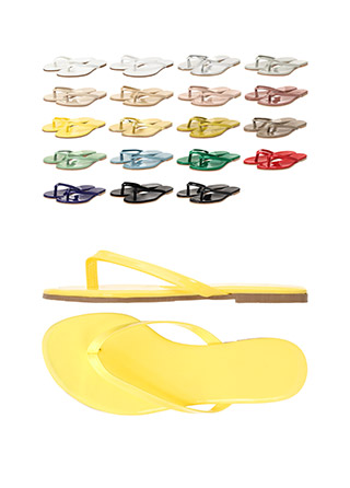 sh1462 파스텔리한 컬러구성의 에나멜 합피 베이직 플리플랍 쪼리 슬리퍼 shoes