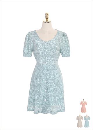 op7145 퍼프 소매와 플라워 패턴의 브이넥 단추 원피스 dress