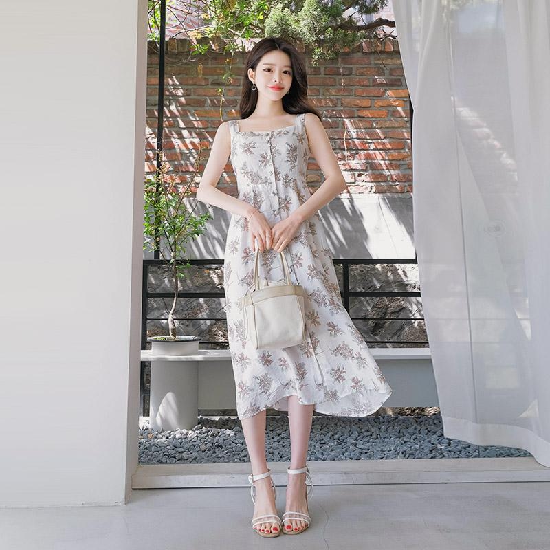 op7129 페미닌한 플라워 패턴의 싸개 버튼 장식 슬리브리스 롱 원피스 dress