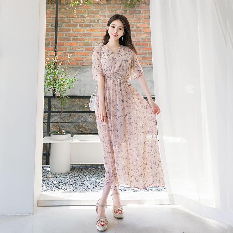 op7130 사랑스러운 잔꽃 패턴의 백 리본 장식 쉬폰 롱 원피스 dress