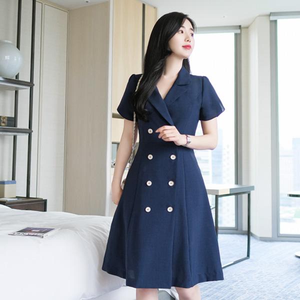 op7156 세련되고 테일러드 카라의 여성스러운 튤립 소매 A라인 원피스 dress