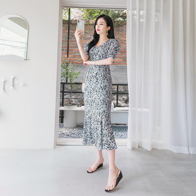 op7158 페미닌무드 내츄럴핏 실루엣이 예쁜 플라워 패턴 원피스 dress