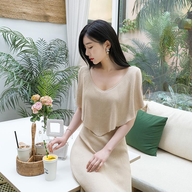 op7168 우아하고 시원한 무드의 케이프디자인의 하이퀄리티 오프숄더 니트원피스 dress