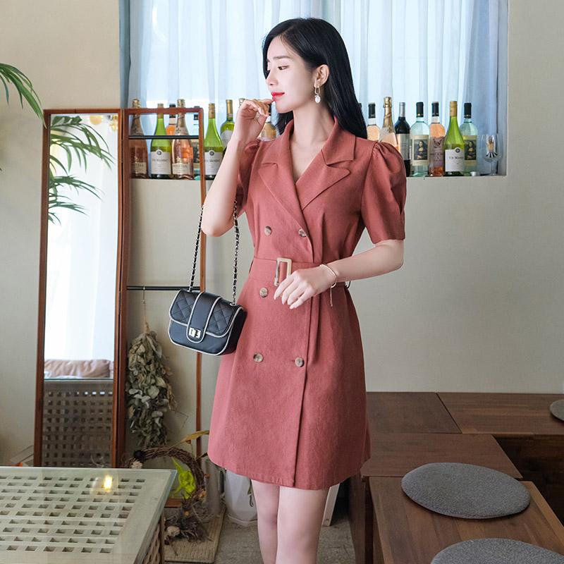 op7170 썸머데일리를 책임질 테일러드넥의 셔링소매포인트 벨트세트 더블원피스 dress
