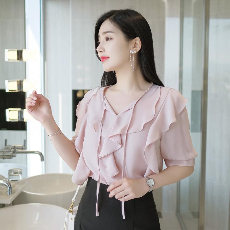 bs4408 여성스러운 프릴디자인의 리본넥 반팔 쉬폰블라우스 blouse