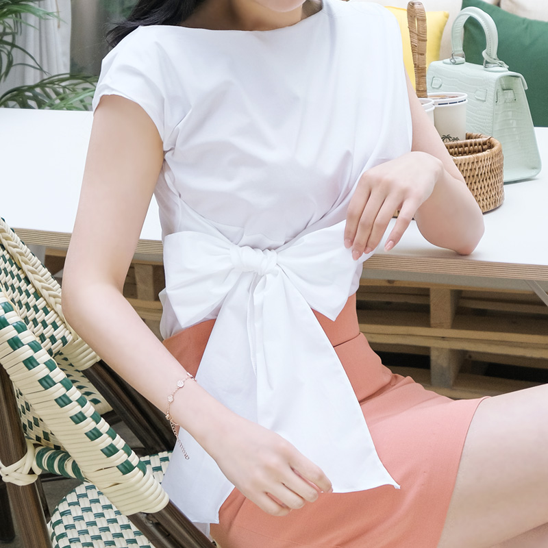 bs4409 시선집중 사이드 리본매듭 포인트의 쫀쫀한 코튼스판 블라우스 blouse