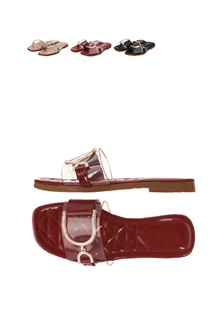 sh1503 명품레이블 감성의 PVC 큐빅 오픈토 블로퍼 에나멜 샌들 shoes