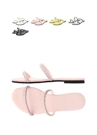 sh1499 꼬임 디자인에 은은한 큐빅을 더한 투스트랩 블로퍼 샌들 shoes