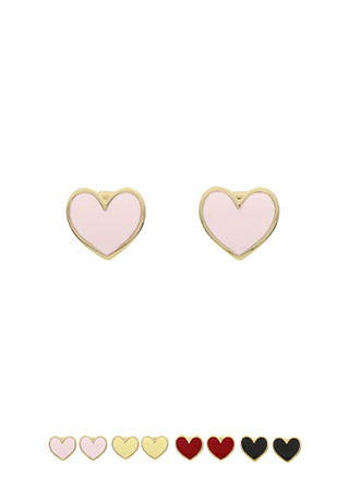 ac3956 앙증맞은 하트 쉐입의 원포인트 컬러 이어링 earring