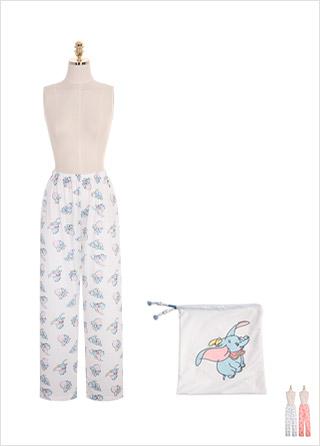 ps1782 코끼리 프린팅 패턴의 펀칭 파자마 팬츠와 파우치 세트 pants