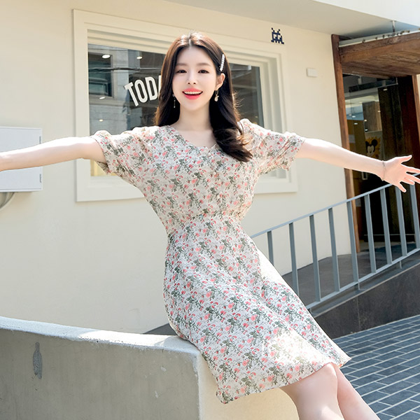 op7178 금장 진주 단추 장식의 플라워 A라인 브이넥 원피스 dress