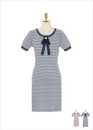 op7191 리본 브로치 세트 구성의 스트라이프 니트 반팔 원피스 dress