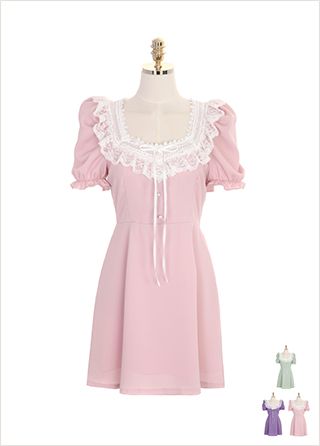 op7195 공주님같은 레이스 트리밍의 스퀘어 진주 단추 원피스 dress