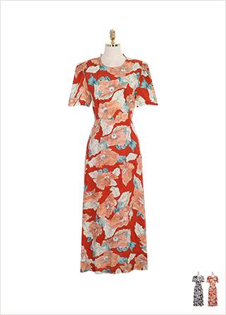 op7197 빅 플라워 패턴과 뒷 트임 리본 디테일의 퍼프 숄더 롱 원피스 dress