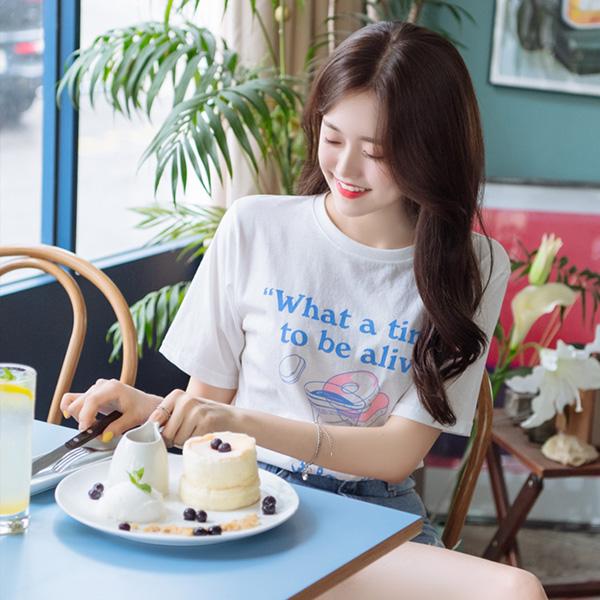 ts1617 사랑스러움 가득한 커피 앤 도넛 프린팅의 데일리 포인트 티셔츠 tee