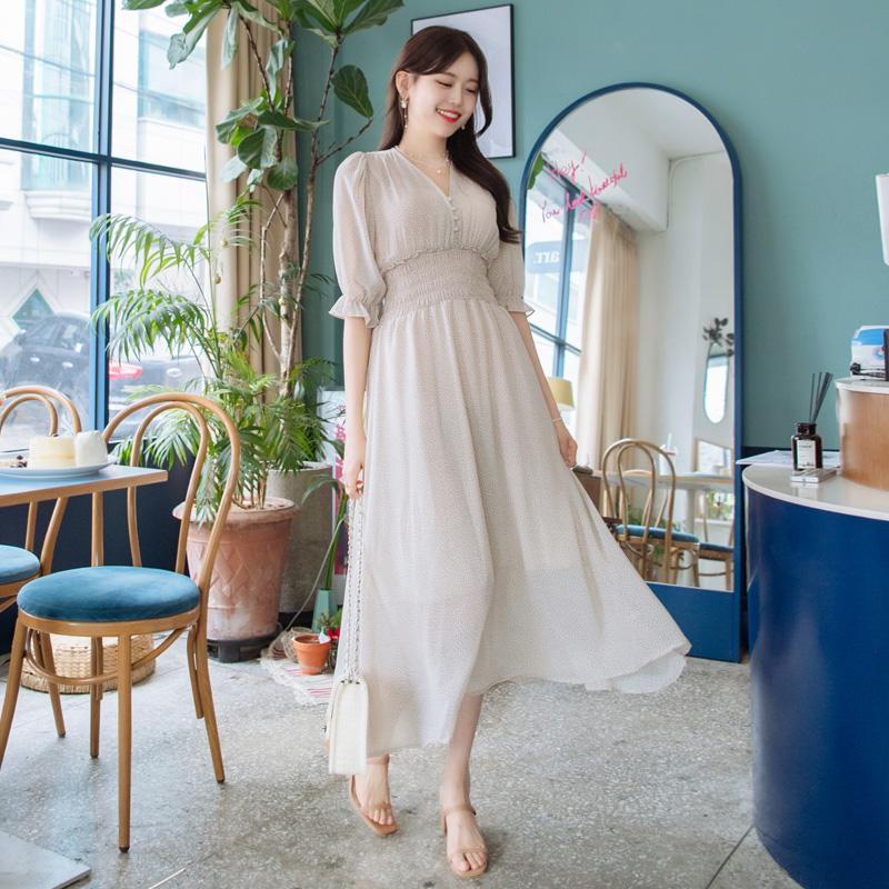 op7219(A) 청순한 여신무드 자아내는 러블리 잔도트패턴의 쉬폰 스모크 롱원피스 dress