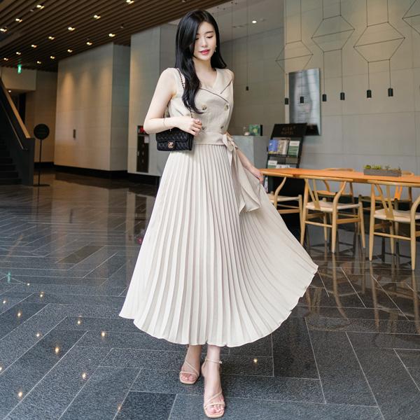 op7212 드레시한 플리츠 주름디자인의 더블버튼 카라넥 롱원피스 dress