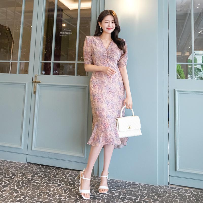 op7227 신비로운 매력의 V넥 셔링 장식 머메이드 프릴라인 에스닉 원피스 dress