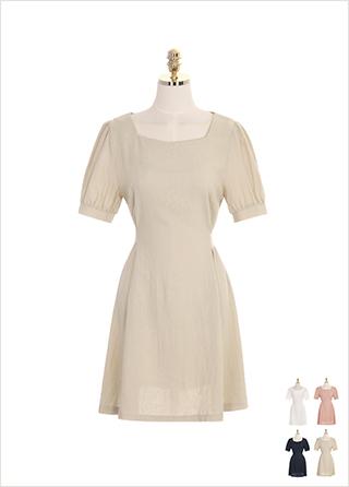 op7203 세미 퍼프 숄더와 린넨 혼방 패브릭의 스퀘어 원피스 dress