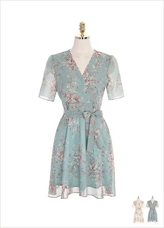 op7204 브이넥 랩 디자인의 리본 스트랩 세트 플라워 쉬폰 원피스 dress
