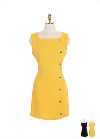 op7206 백 빅리본과 단추 장식의 스퀘어넥 민소매 원피스 dress