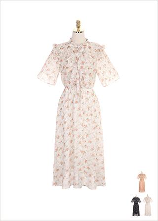 op7207 플리츠 나팔 소매와 프릴 리본 타이넥 장식의 밴딩 플라워 쉬폰 원피스 dress