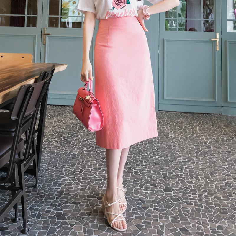 sk3539 하이퀄리티의 백 트임 미디 롱 베이직 스커트 skirt