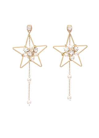 ac3977 볼드한 별 포인트 쉐입의 진주 드롭 이어링 earring