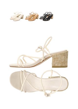 sh1506 크로스 스트랩 장식의 라탄굽 오픈토 블로퍼 미들힐 샌들 shoes