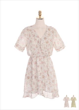 op7209 브이넥 프릴 장식의 플라워 쉬폰 밴딩 원피스 dress