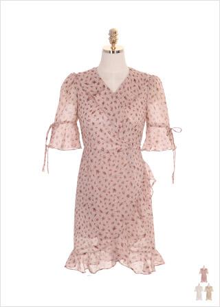 op7208 리본 소매와 언발 러플 트리밍의 플라워 쉬폰 원피스 dress