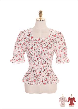 bs4422 플라워 패턴과 백 엑스 스트랩 장식의 스모크밴딩 스퀘어 블라우스 blouse