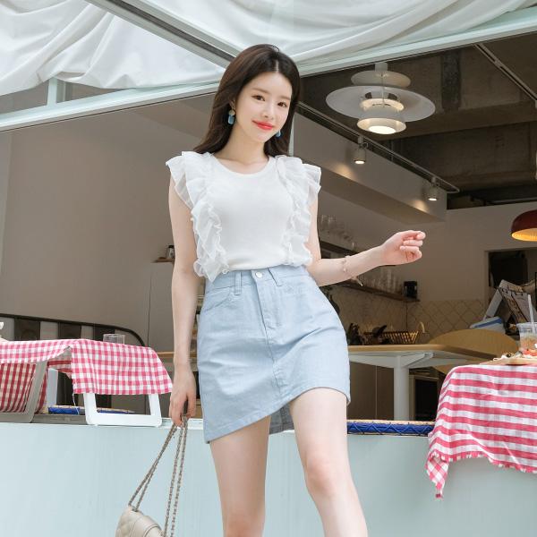 sk3541 리넨100% 패브릭의 시원함 가득한 H라인 미니스커트 skirt