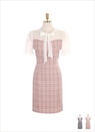 op7238 시스루 리본타이 쉬폰블랑 디자인의 체크 H라인 원피스 dress