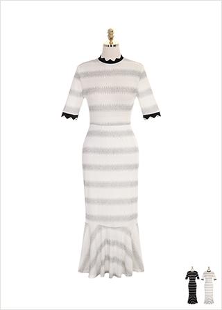op7239 물결 쉐입과 머메이드 디자인의 스트라이프 니트 롱 원피스 dress