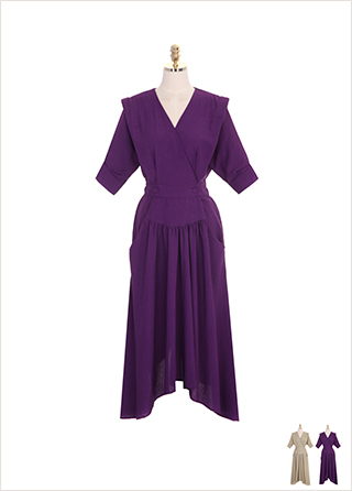 op7241 브이넥 랩 디자인의 언발 셔링 쉐입 포켓 롱 원피스 dress