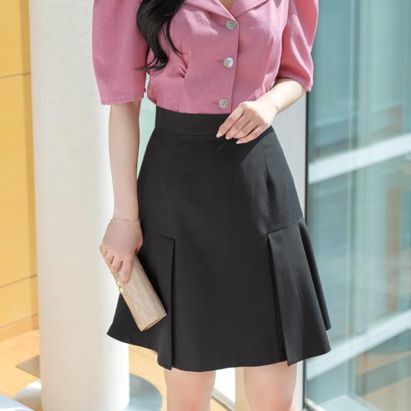 sk3545 여성스러운 A라인의 밑단포인트 베이직 미디스커트 skirt
