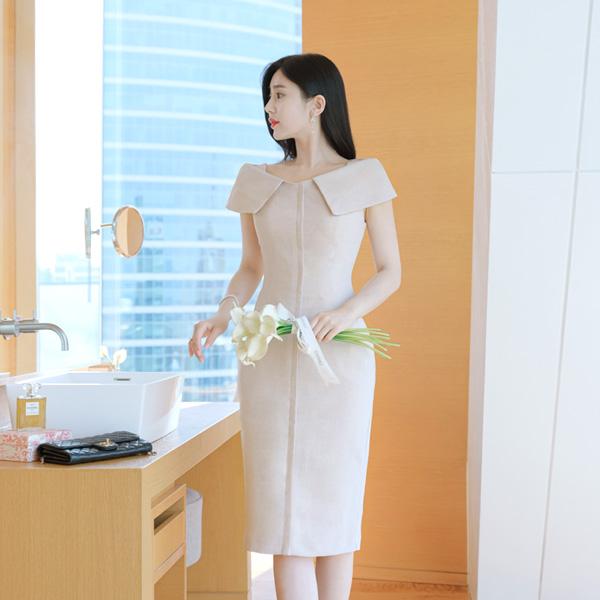 op7255 우아한 카라넥의 완벽한 핏감이 더해진 스페셜 레이디원피스 dress
